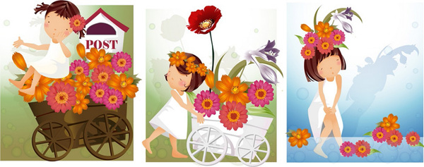 elements of girl daisy style vector
