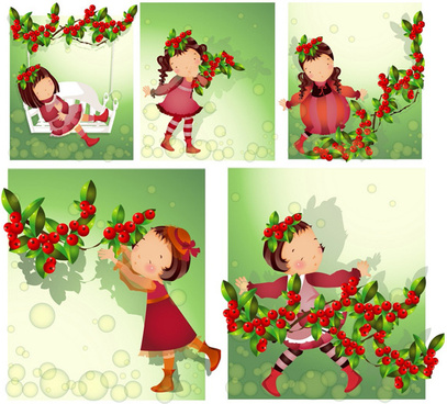 elements of girl in red fruit vector