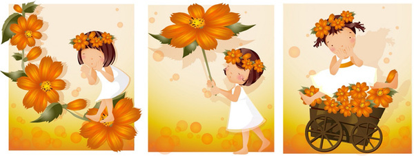 elements of girl orange daisy master vector