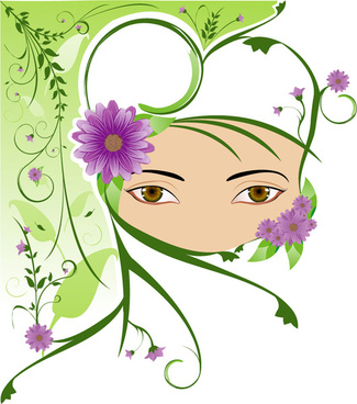 elements of girl pattern vector