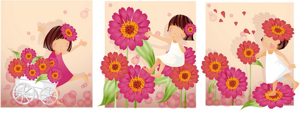 elements of girl purple daisy vector