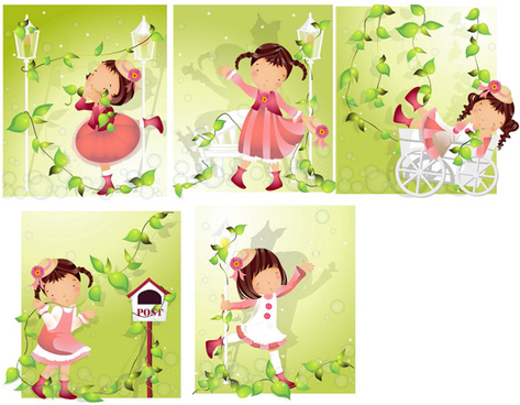 elements of girl vine style vector