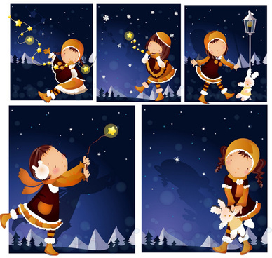 elements of girl winter night vector