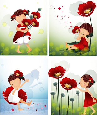 elements of girl with red flower master vector
