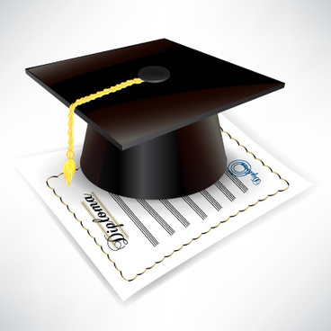 elements of graduation cap and diploma design vector