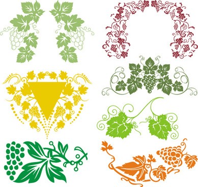 elements of grapes style borders vector