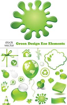 elements of green eco vecto