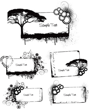 elements of grunge floral vector set