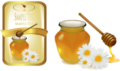 elements of honey and bees vector set