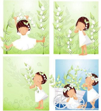 elements of main girl white flowers vector