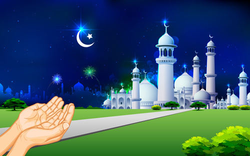 elements of mosque backgrounds vector graphic