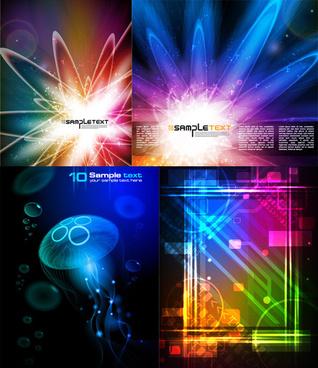 elements of neon light background vector