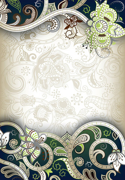 elements of ornate floral frame vector