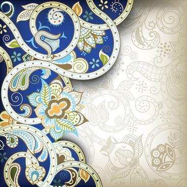 elements of ornate floral frame vector
