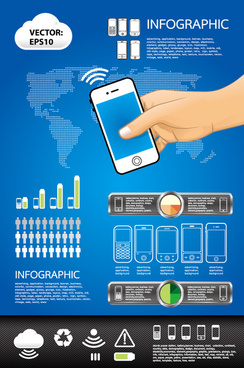 elements of phone infographics vector set
