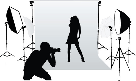 elements of photographic studio photographer design vector