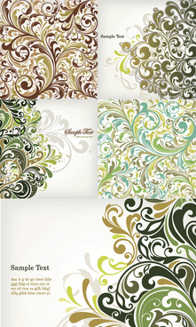 elements of plant decorative pattern background vector graphic