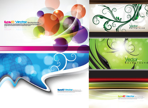 elements of plant decorative pattern spot backgrounds vector graphic