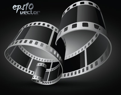 elements of realistic 3d film reel design vector set