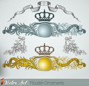 elements of retro decoration pattern borders vector