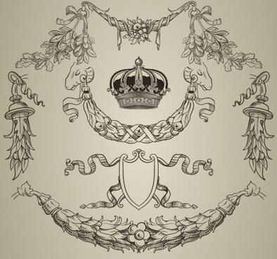 elements of retro decoration pattern borders vector