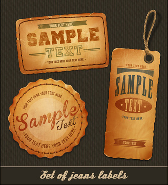 elements of retro jeans labels vector set