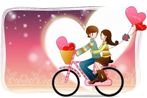 elements of romantic cartoon lovers vector set