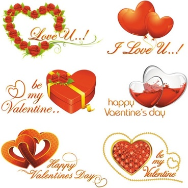 elements of romantic valentine39s day 02 vector