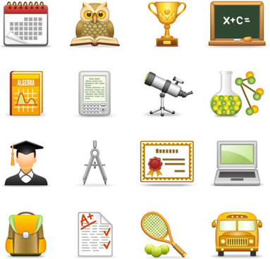 elements of school design icon vector