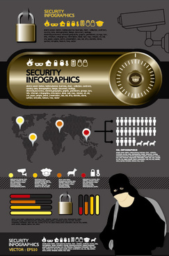 elements of security infographics vector