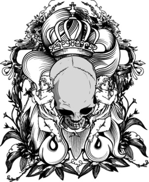 elements of sticker on the shirt skull vector