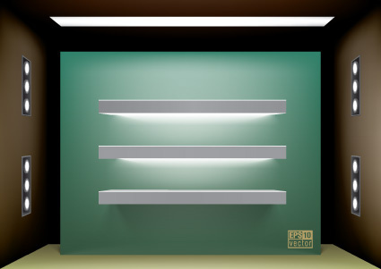 elements of store window with illuminated design vector