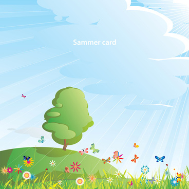 elements of summer glade vector background