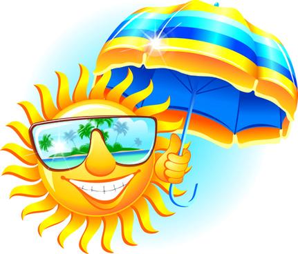 elements of summer sun vector art