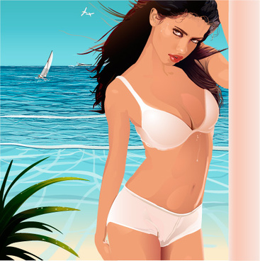 elements of swimsuit beautiful girl vector