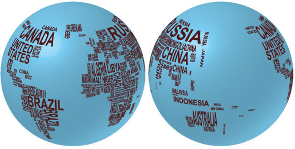 elements of text with globe vector graphics