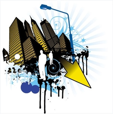 elements of the trend and urban silhouette 04 vector