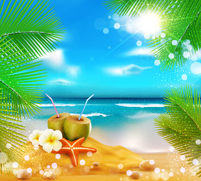 Elements of tropical beach background vector art