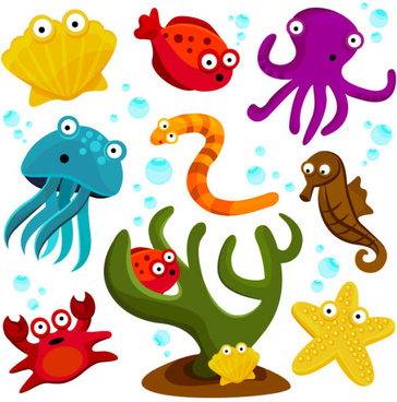 elements of various cute marine animals vector