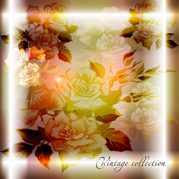 elements of vintage background with flowers vector graphics