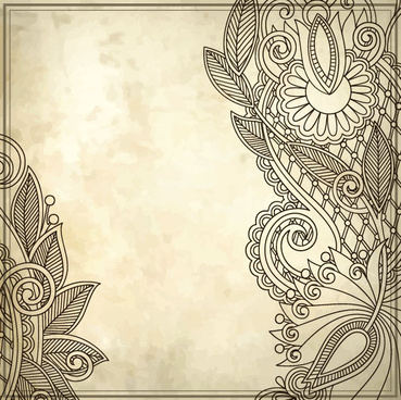 elements of vintage floral borders art vector