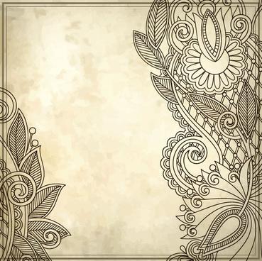 Elements of vintage floral borders art vector