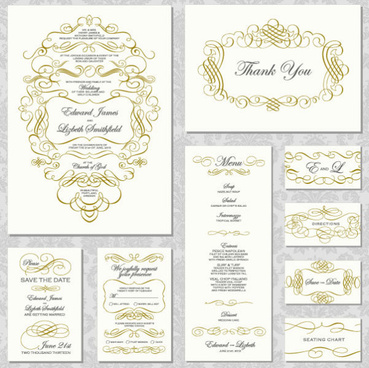 elements of vintage lace cards vector