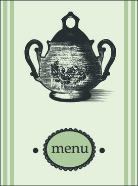 elements of vintage menu cover design vector