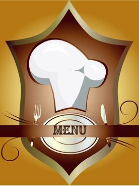 elements of vintage menu cover design vector