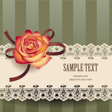 elements of vintage romantic roses cards vector