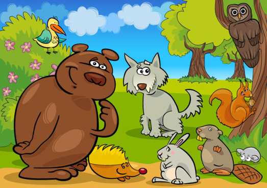 elements of vivid cartoon animal vector