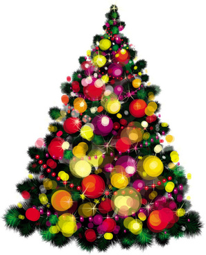 elements of vivid christmas tree with ornaments