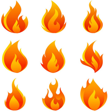 elements of vivid flame vector icon