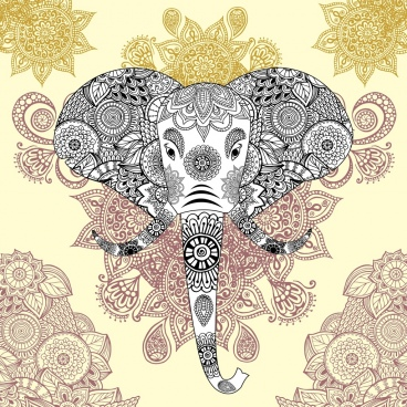 elephant background classical tribal pattern decoration